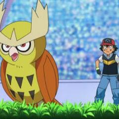 Noctowl junto a Ash.