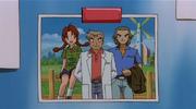 P03 Delia de joven con el Profesor Oak y Spencer Hale