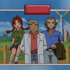 P03 Delia de joven con el Profesor Oak y Spencer Hale.png