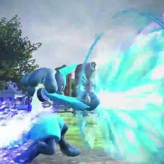 Lucario realizando un ataque con su aura.