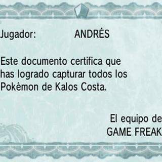 Diploma de Pokédex de Kalos costa en Pokémon X y Pokémon Y.