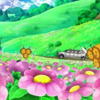 Jardín de flores con Combee revoloteando encima.