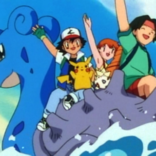 Ash, Misty, Tracey, Togepi y Pikachu encima de Lapras