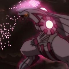 ... Su brazo derecho también se ilumina cargando la energía...