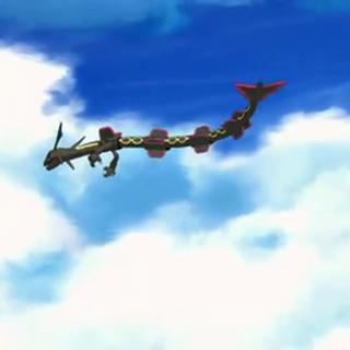 Rayquaza volando.
