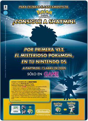 Anuncio evento Shaymin tiendas GAME 2009