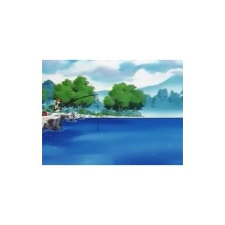 Misty pescando en un lago.