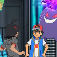 Gengar usa Bola sombra contra Ash.