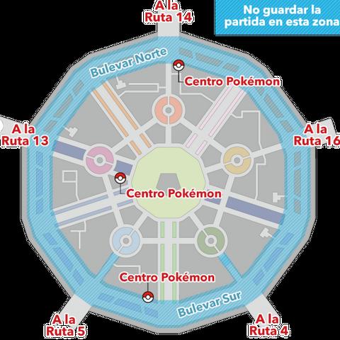 Mapa de Ciudad Luminalia. La zona azul a rayas indica la zona donde puede producirse este error si se guarda la partida.