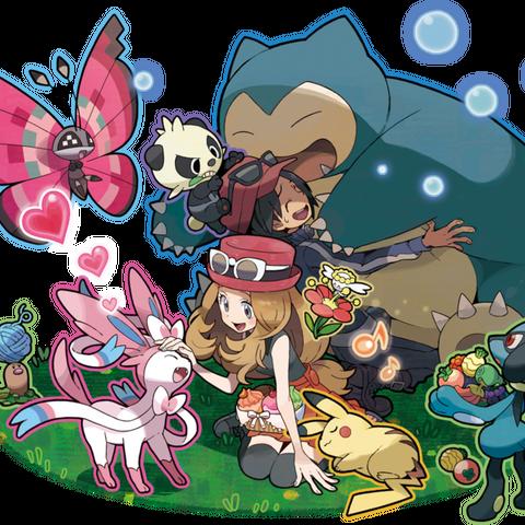Ilustración de los protagonistas y sus Pokémon en el <a href=