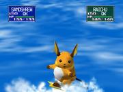 Raichu usando Surf en Pokémon Stadium