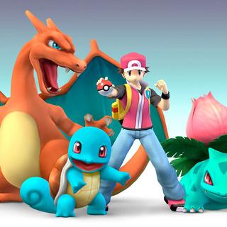Squirtle junto al Entrenador Pokémon y sus otros Pokémon.