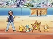 EP149 Ash con Pikachu, Squirtle, Staryu y Psyduck