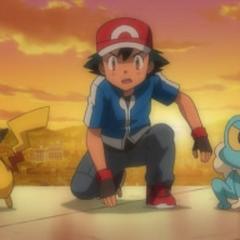 Ash,Pikachu y Froakie en la Torre Prisma