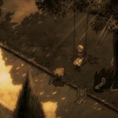 Alicia tocando la hoja silbato junto a los Pokémon y <a href=