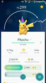 Pikachu gorro de fiesta