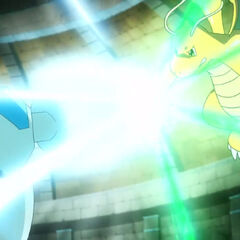 Megapuño de Golurk chocando con Garra dragón de Dragonite de Ash.