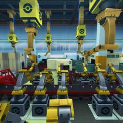 Interior de la fábrica en el anime.