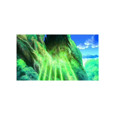 ...en forma de un rayo verde, capaz de reformar un enorme árbol.