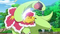 EP1109 Pikachu usando Cola férrea contra Meganium