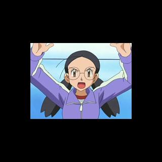 Yōko haciendo de juez, dando comienzo al combate de gimnasio entre <a href=
