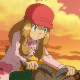 Serena usando su uniforme para montar a los Pokémon.
