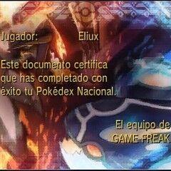 Diploma de Pokédex nacional en Pokémon Rubí Omega y Pokémon Zafiro Alfa.