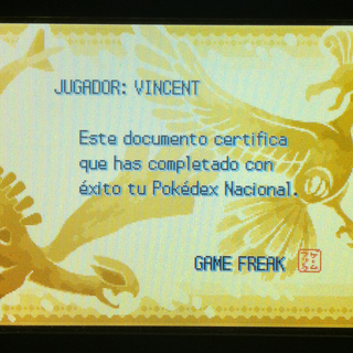 Diploma de Pokédex nacional en Pokémon Oro HeartGold y Pokémon Plata SoulSilver.