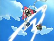 EP433 Shiftry usando golpe aéreo sobre el Team Rocket