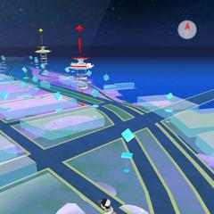 Aquí se observan los edificios en 3D y la parte inferior de la pantalla.