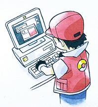Rojo usando el PC