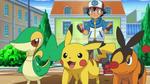 EP715 Ash, Pikachu, Tepig y Snivy