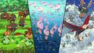 P14 Versión Blanca Pokémon en el agua, tierra, y cielo
