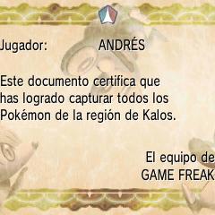 Diploma Pokédex regional en Pokémon X y Pokémon Y.
