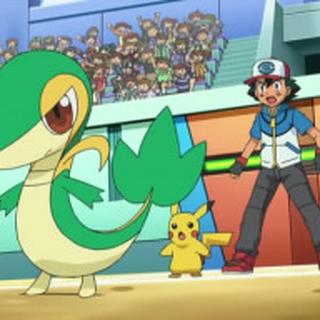 Snivy junto a Ash.