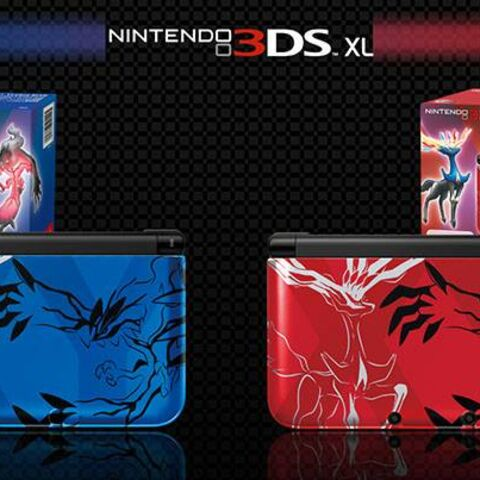 Nintendo 3DS XL en sus ediciones especiales <b>Xerneas-Yveltal Blue</b> y <b>Xerneas-Yveltal Red</b>.
