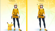 Pikachu en el hombro de un entrenador en Pokémon GO