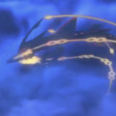 Mega-Rayquaza girando en el aire en la <a href=