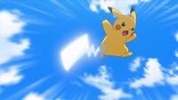 EP918 Pikachu de Ash usando cola férrea