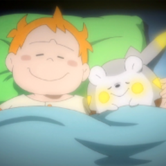 Chris y Togedemaru durmiendo