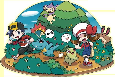 Ilustración mostrando como los Pokémon seguirán a los personajes en HGSS