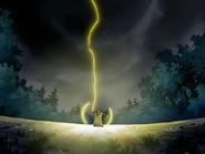EP525 Pikachu lanza un rayo a la tormenta