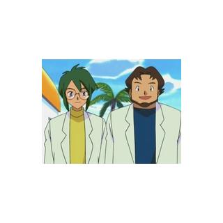 Joshua y el profesor despidiéndose de Ash y May/Aura.