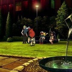Plaza del Centro Pokémon de Ciudad Roshan.