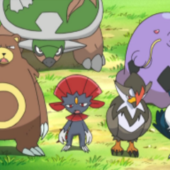 Honchkrow junto a los Pokémon de Paul/Polo y <a href=