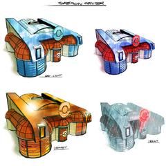 Artworks del exterior del centro Pokémon según las condiciones climatológicas.
