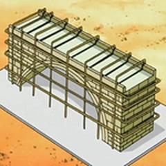 Maqueta del puente erróneo con la que el experto pudo demostrar que se destruiría al quitar los andamios.