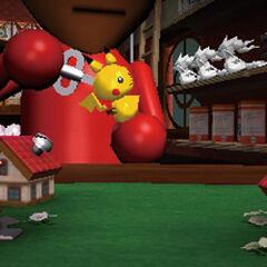 Un Mii con un muñeco de Pikachu. Al fondo se aprecian tres muñecos de <a href=
