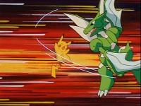 EP146 Scyther golpeando a Pikachu con cortefuria