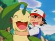 EP201 Ash abrazando a Bayleef